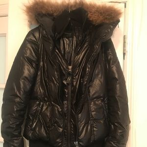 Mackage Black Puffer Down Jacket with Natural Fur